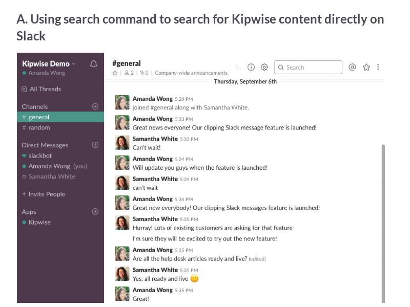 Searching for Kipwise Content on Slack