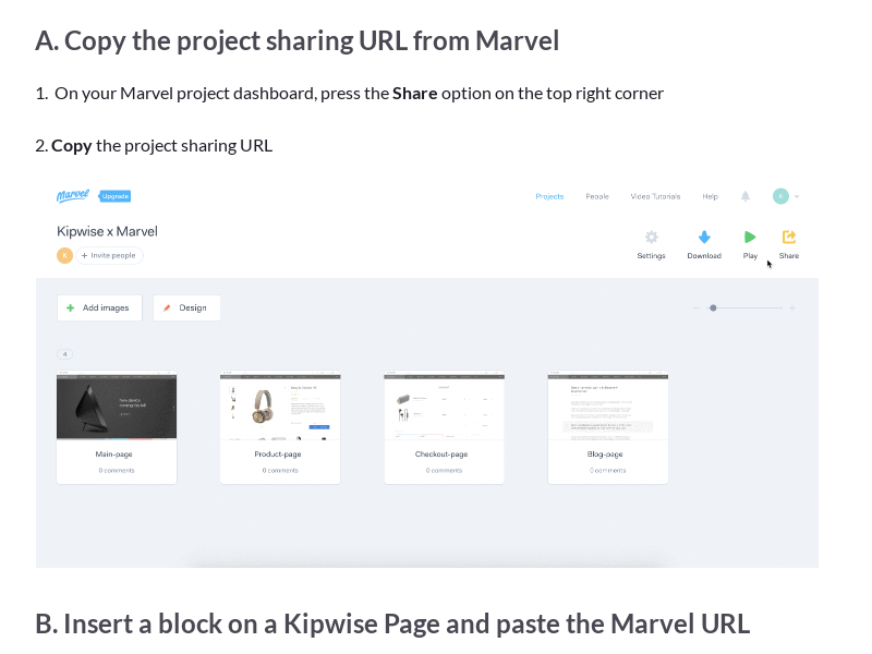 Embed Marvel design on a Kipwise Page