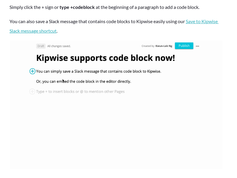 Insert code block on a Kipwise Page