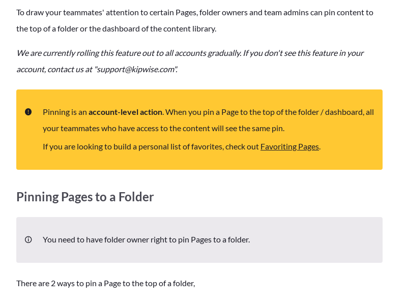 Pinning Pages