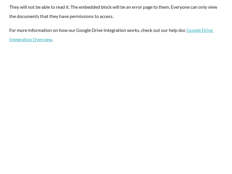 What will my teammates see if I embed a Google Drive document they don't have access to?