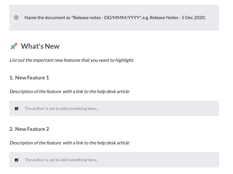 Release Notes Template