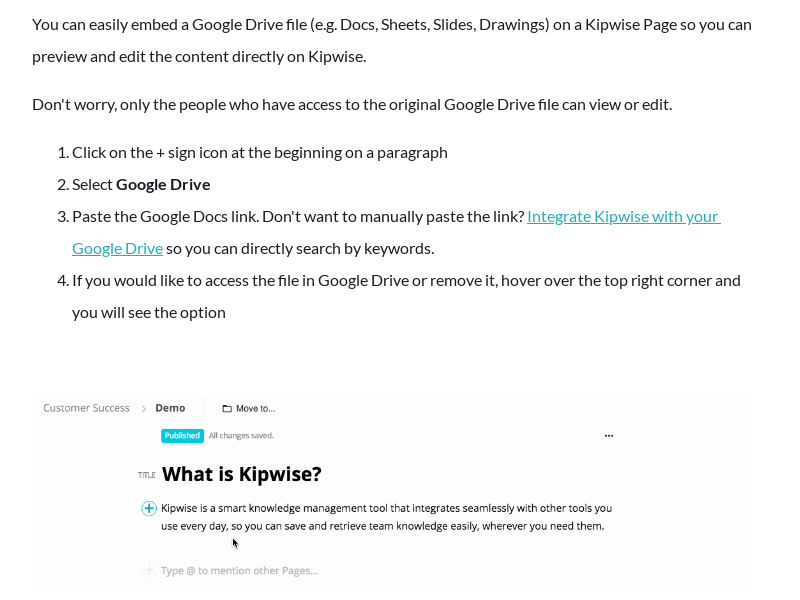 Embed Google Drive files on a Kipwise Page