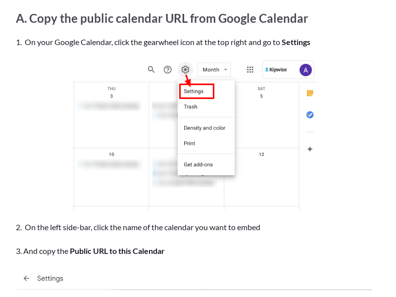 Embed Google Calendar on a Kipwise Page