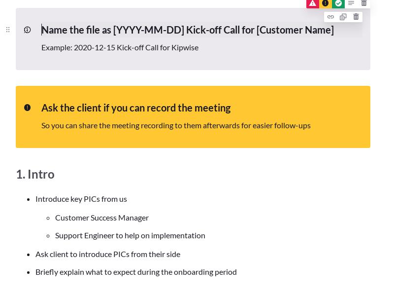 Customer Kick-off Call Template for SaaS