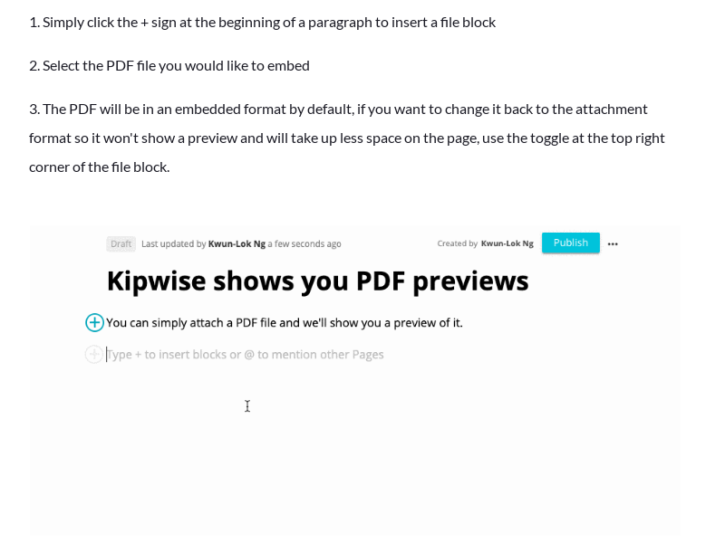 Embed a PDF file to preview it directly on a Kipwise Page