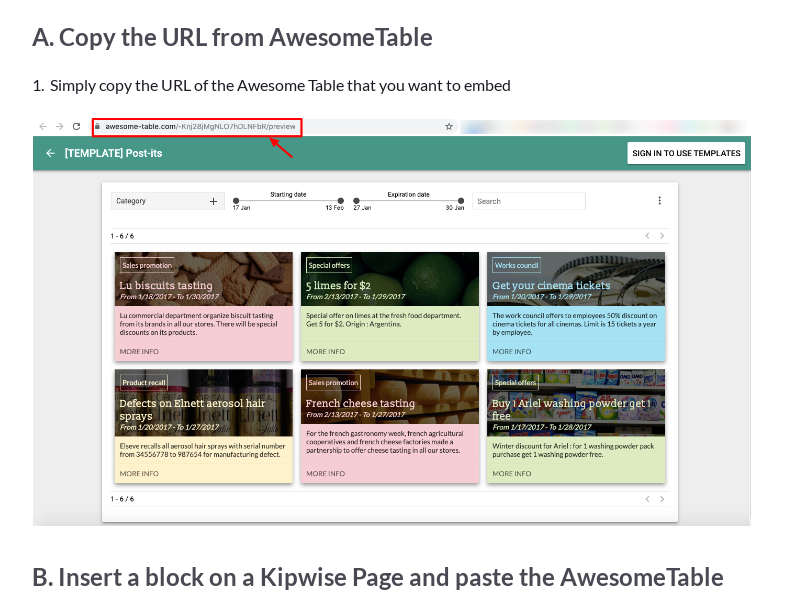 Embed AwesomeTable on a Kipwise Page