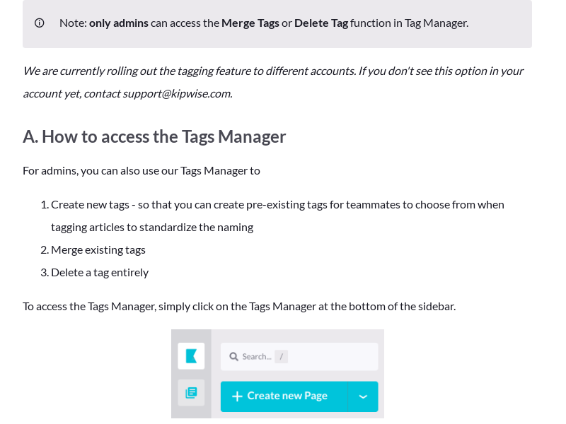 Tags Manager - create / merge / delete tags