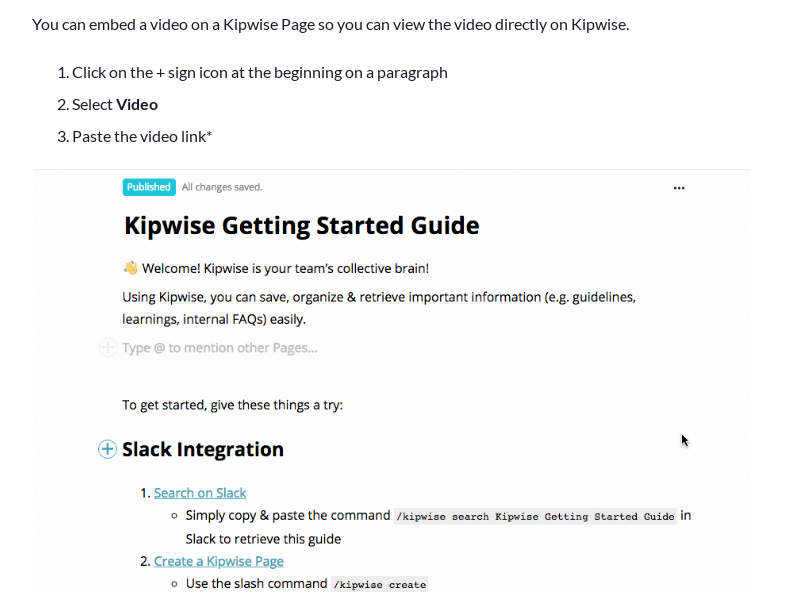 Embed a video on a Kipwise Page