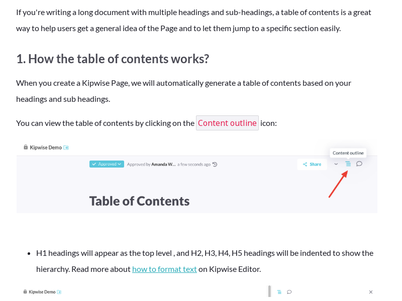 Table of Contents - How to link to a specific header on a Kipwise Page