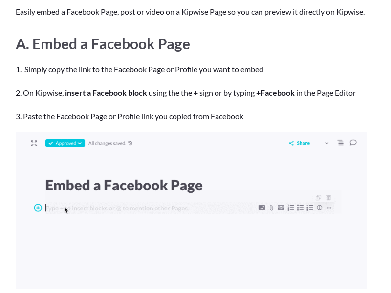 Embed Facebook Pages, posts or videos on a Kipwise Page