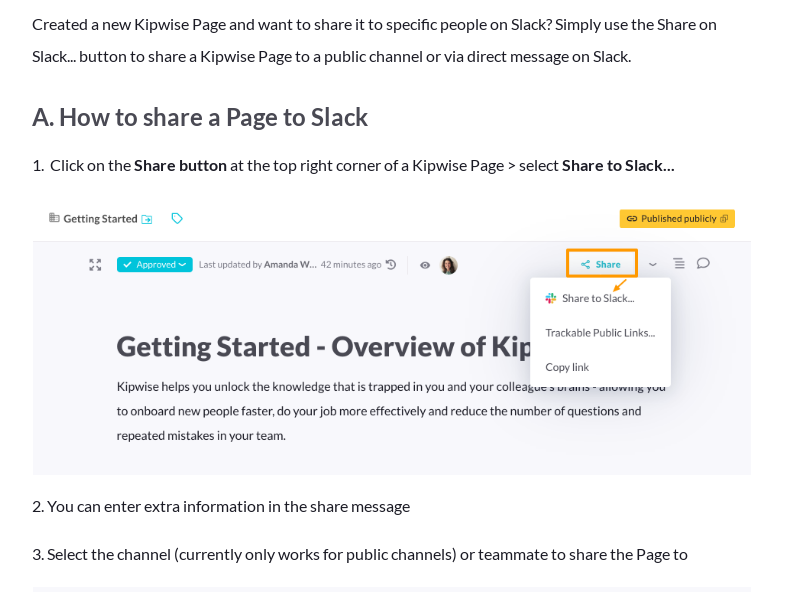 Share a Page to Slack