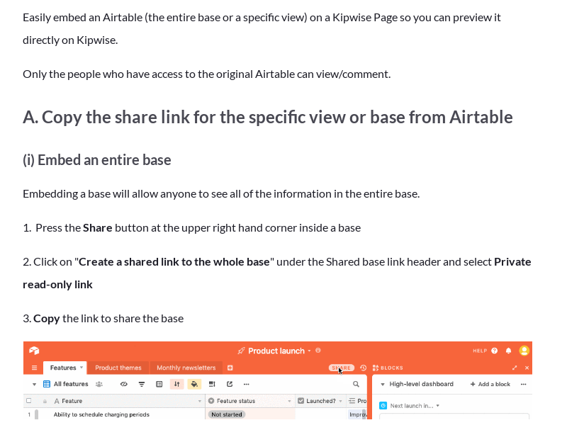 Embed Airtable on a Kipwise Page
