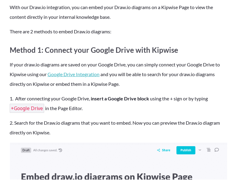 Embed Draw.io diagrams on a Kipwise Page