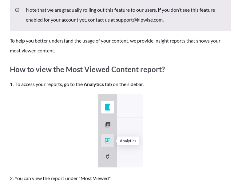 Analytics - Most viewed content