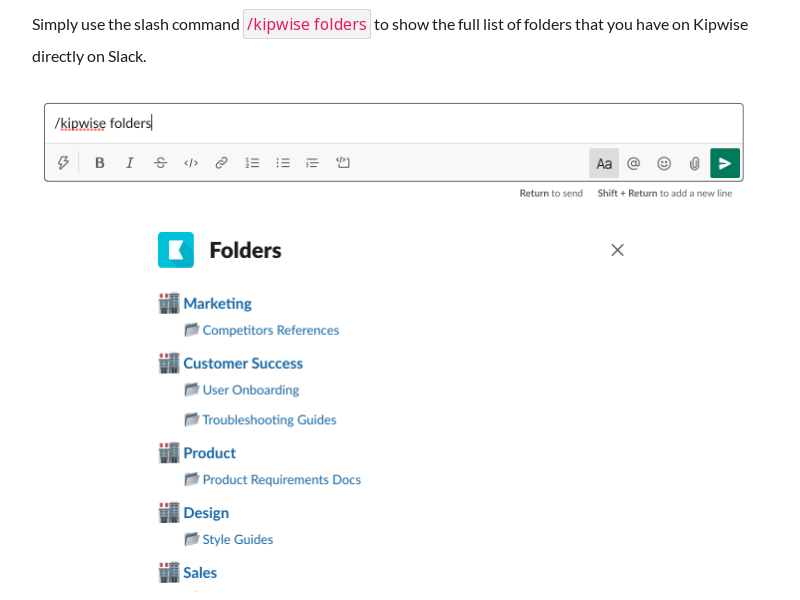 View folder list directly on Slack