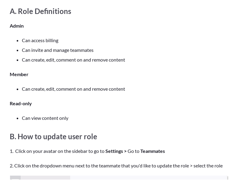 User roles: Admin vs. Member vs. Read-only