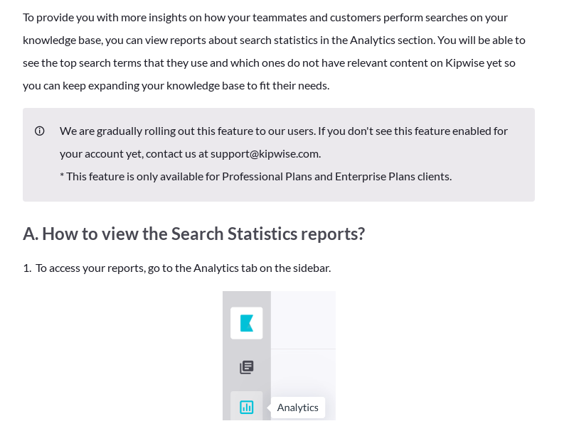 Analytics - Search Statistics