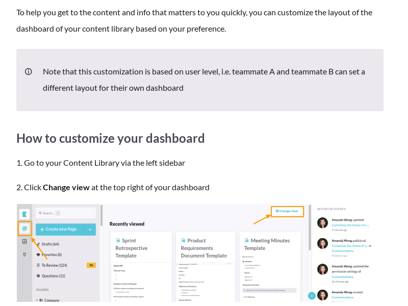 Customize the dashboard of your content library