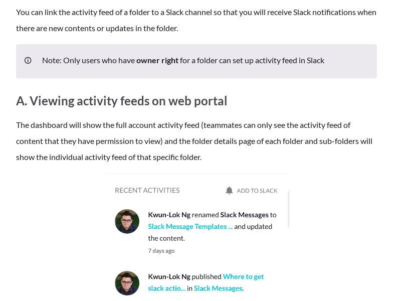 Setting up activity feeds in Slack