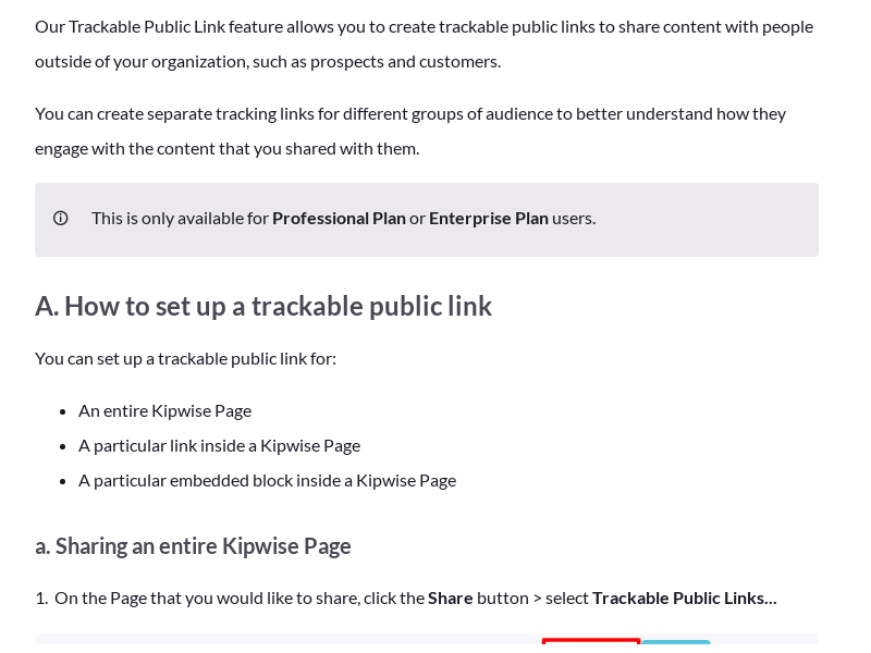 Use trackable public link to share content with people outside of your organization