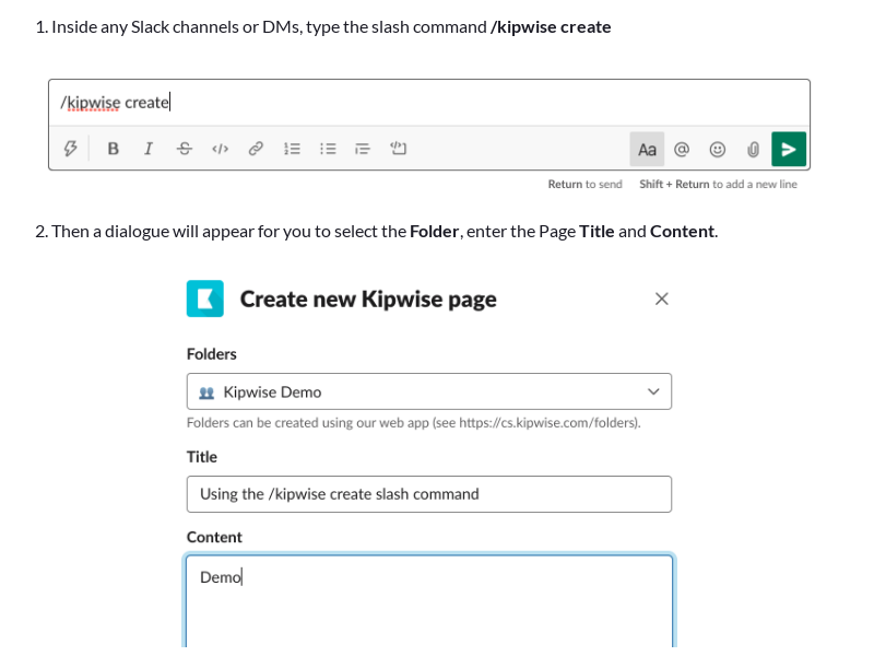Create a Kipwise Page directly in Slack using slash command