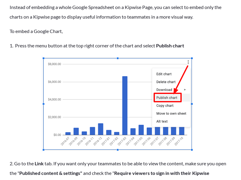 Embed Google Charts on a Kipwise Page