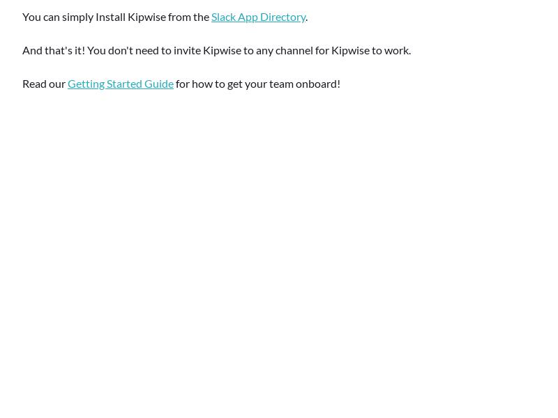 Installing Kipwise on Slack