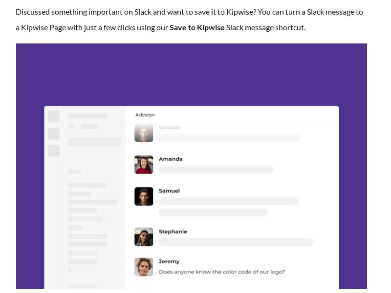 Save a Slack message to Kipwise