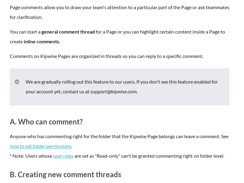 Commenting on Kipwise Pages
